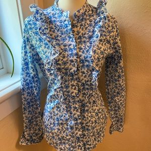 "Blue floral ""The Shirt"" ruffle blouse"